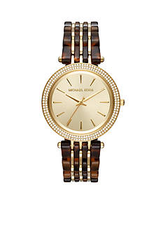 Michael Kors Women's Gold-Tone Darci Tortoise Watch