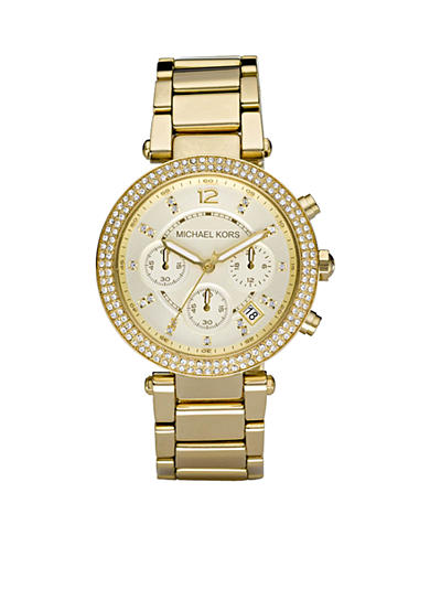 Michael Kors Midsize Gold-Tone Stainless Steel Parker Glitz Watch
