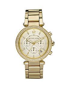 Michael Kors Midsize Gold-Tone Stainless Steel Parker Glitz Watch