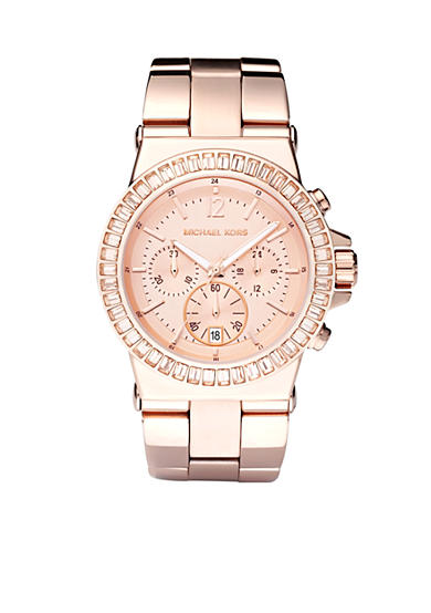 Michael Kors Women's Chronograph Rose Gold-Tone Stainless Steel Bracelet