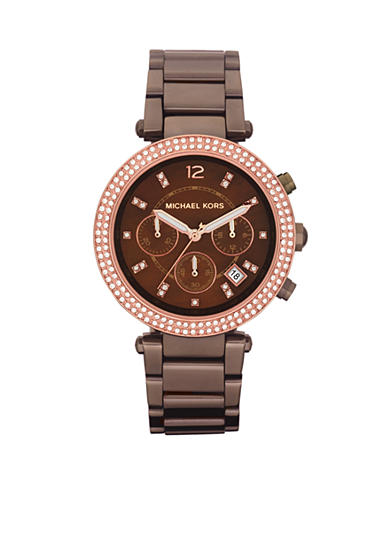 Michael Kors Mid-Size Espresso Tone Stainless Steel Parker Chronograph Glitz Watch<br>