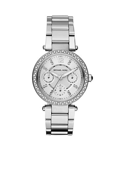 Michael Kors Parker Mini Silver-Tone Glitz Multifunction Watch
