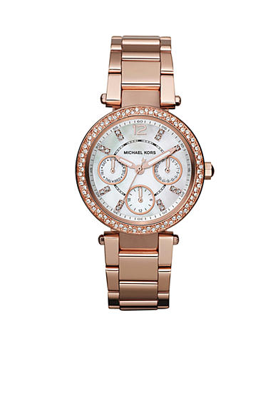Michael Kors Parker Mini Rose Gold Tone Glitz Watch