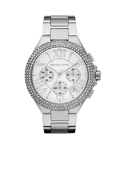 Michael Kors Mid-Size Silver Tone Stainless Steel Camille Chronograph Glitz Watch<br>