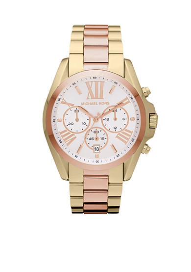 Michael Kors Mid-Size Gold and Rose Gold Tone Stainless Steel Bradshaw Chronograph Watch<br>