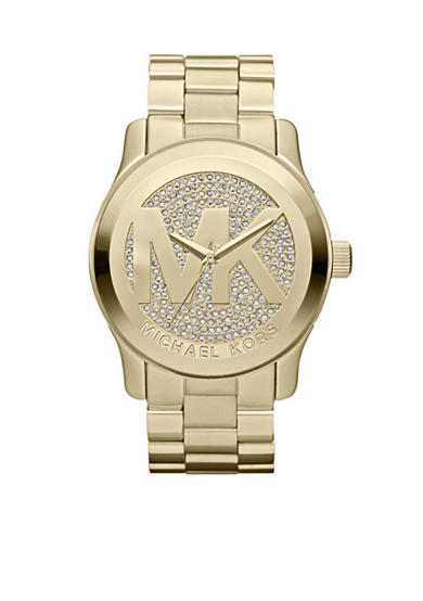 Michael Kors Women's Mid-Size Gold-Tone Stainless Steel Runway Three-Hand Glitz Watch<br>