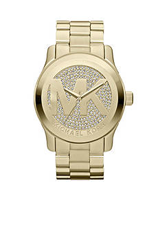Michael Kors Women's Mid-Size Gold-Tone Stainless Steel Runway Three-Hand Glitz Watch