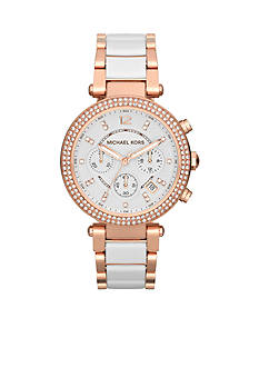 Michael Kors Women's Mid-Size White Acetate and Rose Gold Tone Stainless Steel Parker Chronograph Glitz Watch