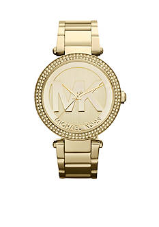 Michael Kors Women's Midsize Gold-Tone Stainless Steel Parker Logo Glitz Watch