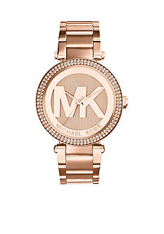 Michael Kors Mid-Size Rose Gold-Tone Stainless Steel Parker Three-Hand Glitz Watch