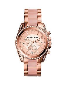 Michael Kors Mid-Size Acetate and Rose-Gold-Tone Stainless Steel Blair Chronograph Glitz Watch