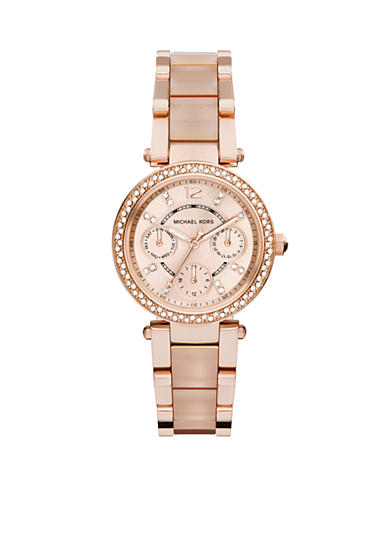 Michael Kors Rose Gold-Tone and Blush Mini Parker Watch