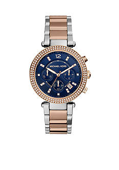 Michael Kors Two-Tone Navy Dial Parker Watch