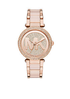 Michael Kors Rose Gold Tone Plated Stainless Steel with Rose Acetate Center Links