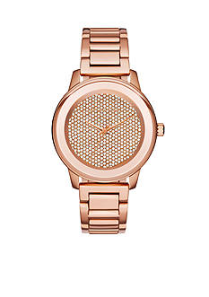 Michael Kors Women's Rose Gold-Tone Stainless Steel Kinley Pave Watch
