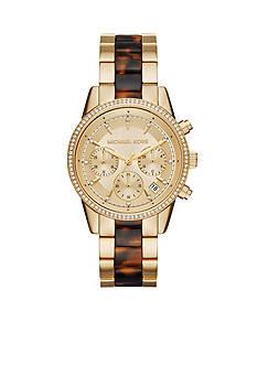 Michael Kors Women's Ritz Gold-Tone and Tort Watch