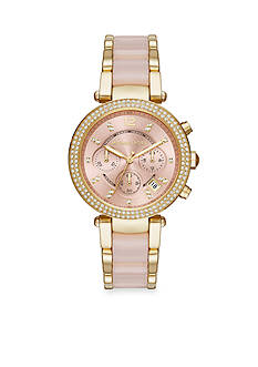 Michael Kors Women's Parker Blush Acetate and Gold-Tone Watch