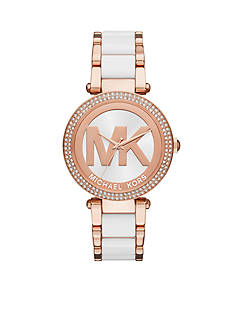 Michael Kors Women's Rose Gold-Tone Parker White Center Link Watch