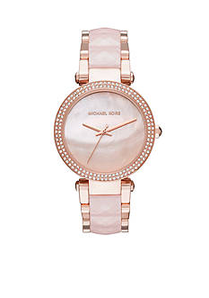 Michael Kors Rose Gold-Tone and Blush Parker Watch