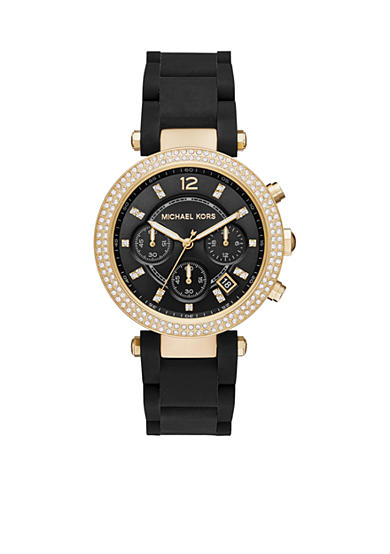 Michael Kors Gold-Tone Black Silicone Parker Watch
