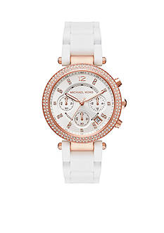 Michael Kors Rose Gold-Tone and White Silicone Parker Watch