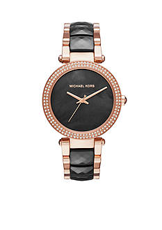 Michael Kors Women's Parker Rose Gold-Tone and Black Acetate Three-Hand Watch