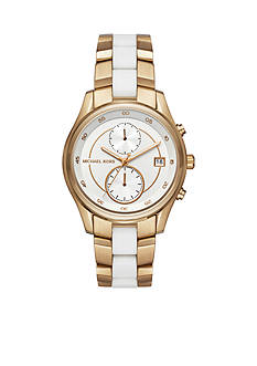 Michael Kors Women's Gold-Tone and White Silicone Briar Multifunction Watch