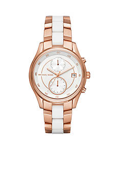 Michael Kors Women's Briar Rose Gold-Tone and White Silicone Multifunction Watch