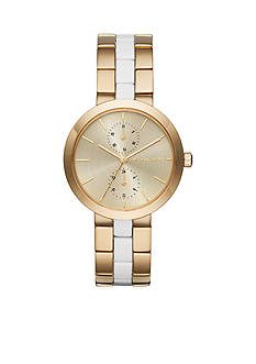 Michael Kors Women's Garner Gold-Tone and White Acetate Multifunction Watch