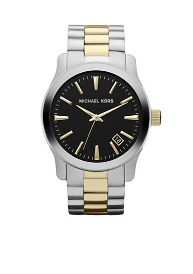 Michael Kors Men's Silver and Gold Tone Stainless Steel Runway Three-Hand Watch<br>