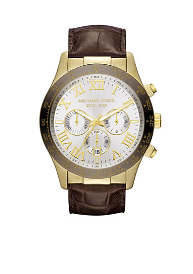 Michael Kors Men's Chocolate Leather and Espresso and Gold Tone Stainless Steel Layton Chronograph Watch<br>