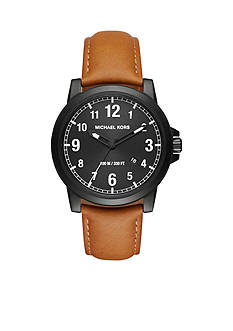 Michael Kors Black and Light Brown Paxton Leather Watch