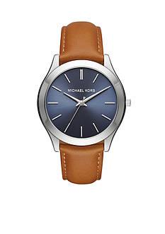 Michael Kors Men's Slim Runway Light Brown Leather Three-Hand Watch