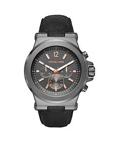 Michael Kors Men's Dylan Black Leather and Gunmetal Watch