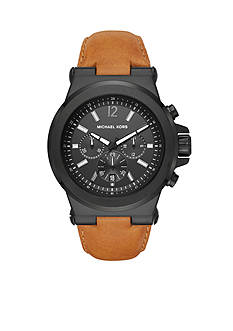 Michael Kors Men's Dylan Dark Brown Leather and Black Watch
