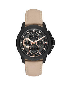 Michael Kors Black and Cement Ryker Leather Chronograph Watch
