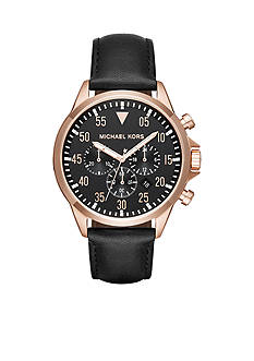 Michael Kors Two-Tone and Black Leather Chronograph Watch