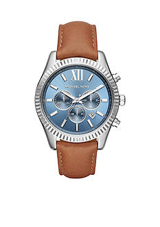 Michael Kors Women's Lexington Luggage Leather Chronograph Watch