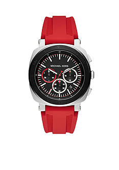 Michael Kors Men's Bax Stainless-Steel and Red Silicone Chronograph Watch