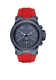 Michael Kors Dylan Blue IP and Red Silicone Chronograph Watch