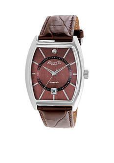 Kenneth Cole Men's Diamond Brown Strap Watch