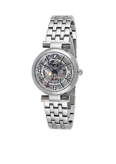 Kenneth cole women 39 s round silver automatic movement watch belk for Auto movement watches