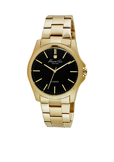 Kenneth Cole Men's Round Diamond Dial Gold-Tone Watch