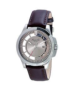 Kenneth Cole Men's Dark Brown Leather Strap Watch