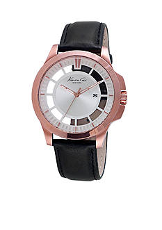 Kenneth Cole Men's Transparent Dial Leather Watch
