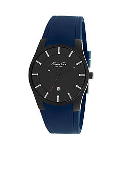 Kenneth Cole Men's Gunmetal and Navy Slim Silicone Watch