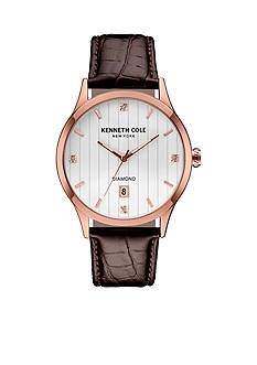Kenneth Cole Men's Kenneth Cole New York Rose Gold 4-Diamond Dial with Brown Leather Strap Watch