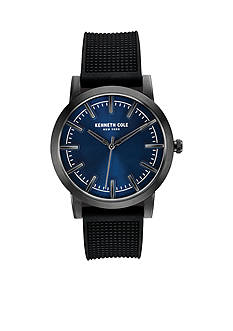 Men's Kenneth Cole New York, Black Leather Strap Watch