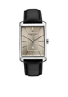 Men's Kenneth Cole New York Rectangular Black Leather Strap Watch