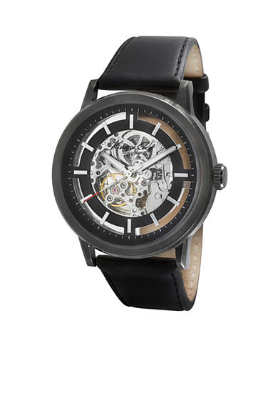Men's Automatic Skeleton, Black Dial Leather Strap Watch